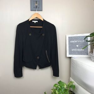 CAbi Black Medium Jersey Knit Cropped Jacket